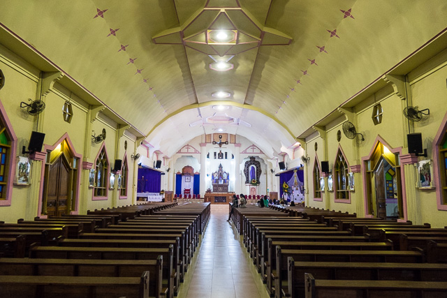 All quiet inside Larantuka Cathedral