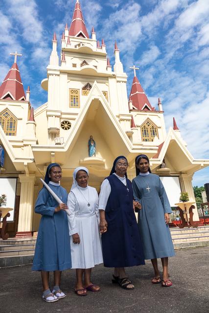 Nuns outside Larantuka Cathedral