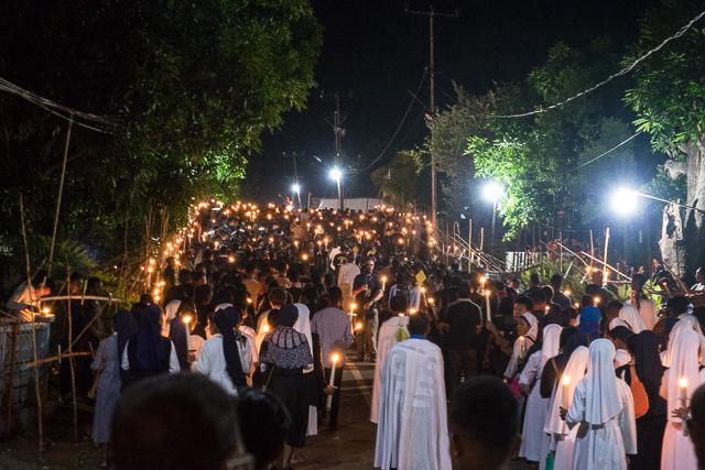 Candle lit procession at Semana Santa, Larantuka