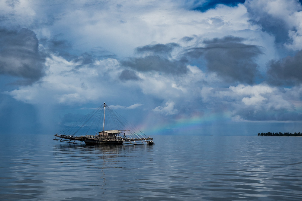 Rainbow and boat