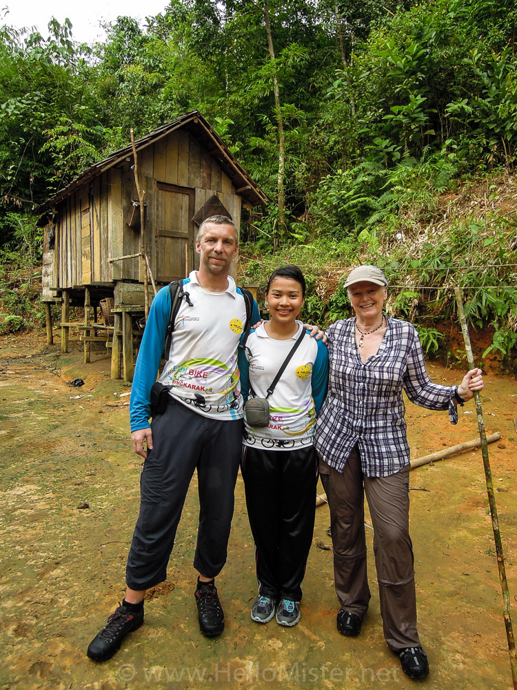 Tata, Mum and me after trekking - see orangutan and meet dayak people in kalimantan