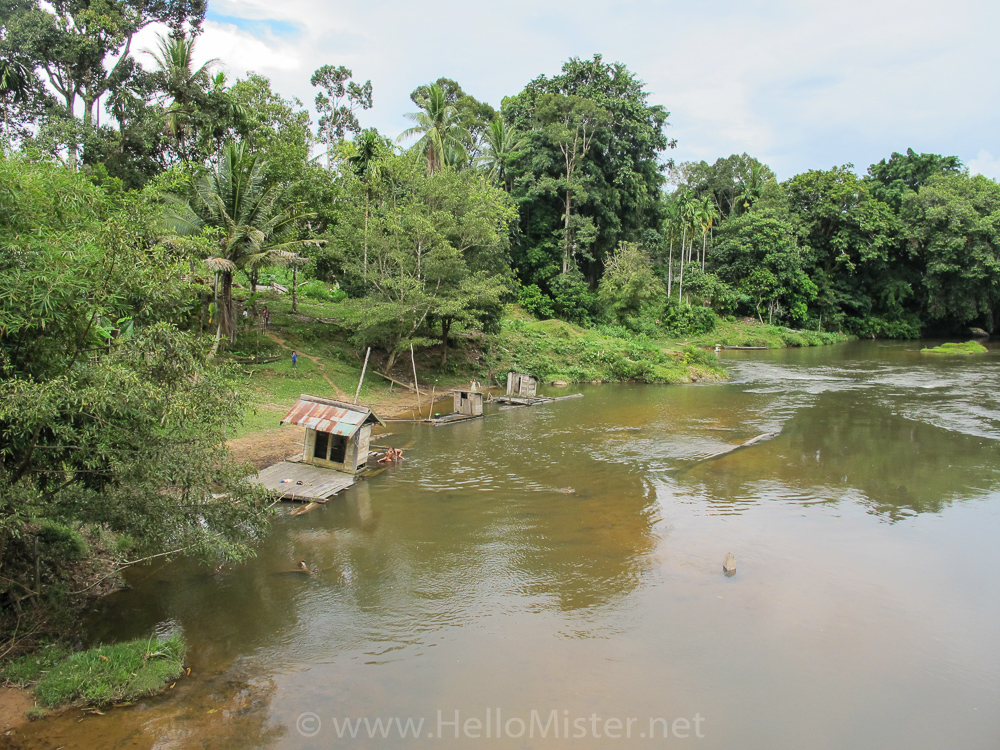 Washing in the river - see orangutan and meet dayak people in kalimantan
