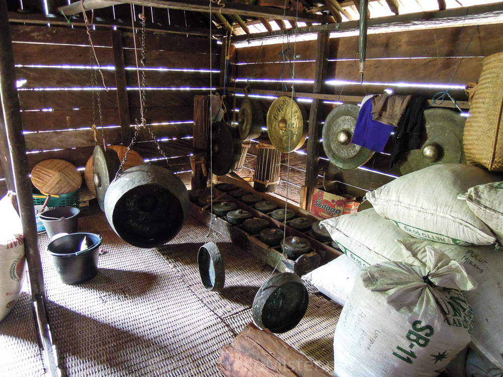 Instruments inside a longhouse - see orangutan and meet dayak people in kalimantan