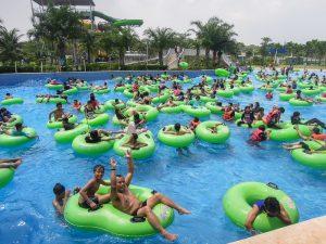 Full wave pool at Go Wet Waterpark Grand Wisata Bekasi