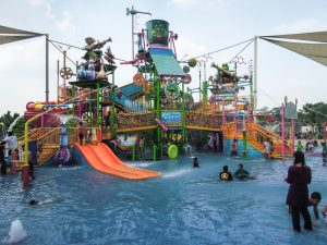 The kids water features at Go Wet Waterpark Grand Wisata Bekasi