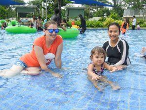 Splashing in the wave pool at Go Wet Waterpark Grand Wisata Bekasi