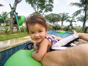 Baby in the lazy river at Go Wet Waterpark Grand Wisata Bekasi