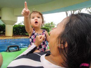 Baby spots a dodgy character at Go Wet Waterpark Grand Wisata Bekasi