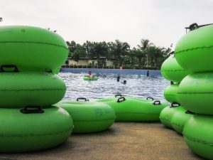 Floating tubes for the wave pool and lazy river at Go Wet Waterpark Grand Wisata Bekasi