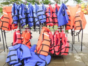 Life jackets are freely available at Go Wet Waterpark Grand Wisata Bekasi