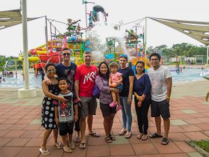 Pose in front of the giant water bucket at Go Wet Waterpark Grand Wisata Bekasi