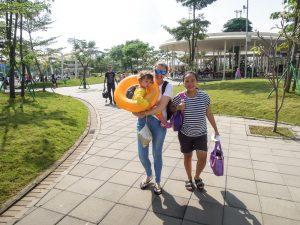Walk to the pagoda at Go Wet Waterpark Grand Wisata Bekasi
