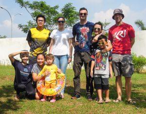Group photo at the Pagoda at Go Wet Waterpark Grand Wisata Bekasi