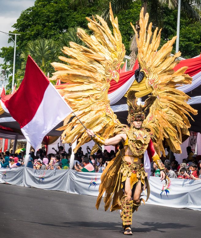 Flag waving at Jember Fashion Carnaval 2016