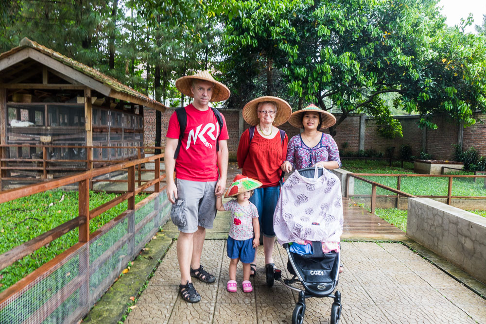 Wearing our Javanese hats! - Day trip to Kuntum Farmfield in Bogor