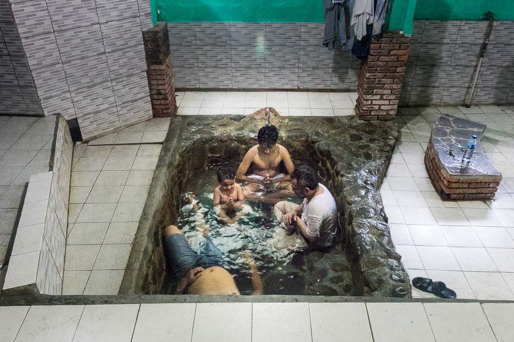 Everyone in the bath together - visit Gunung Pancar Hot Springs