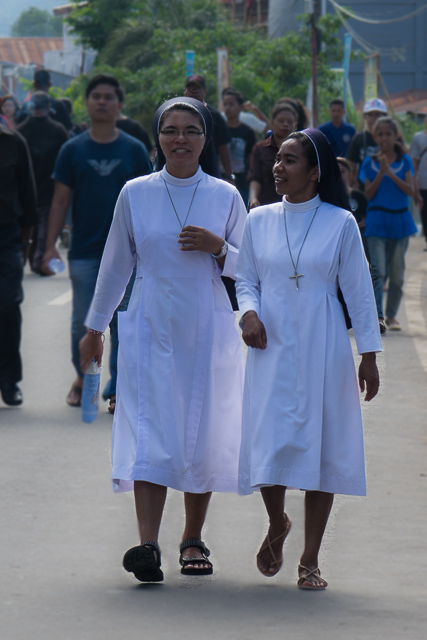 Nuns on the walk - Holy Week procession in Larantuka