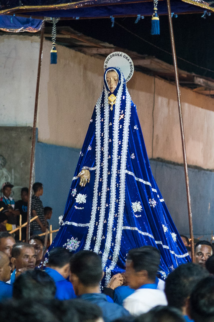 The statue of Mary follows on - Holy Week procession in Larantuka