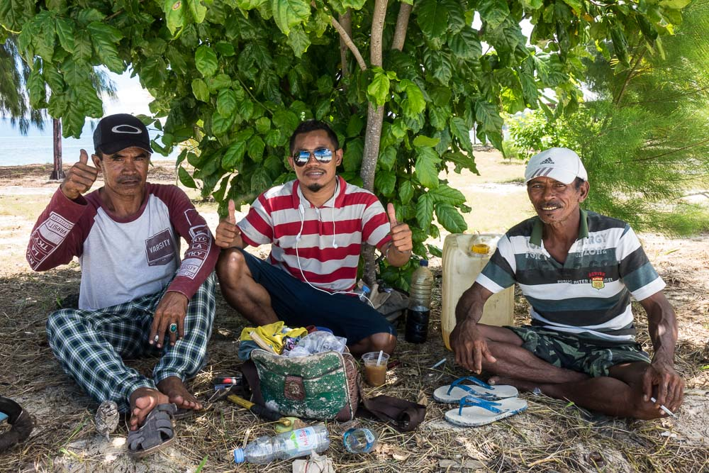 Local workers on lunch - Morotai Island