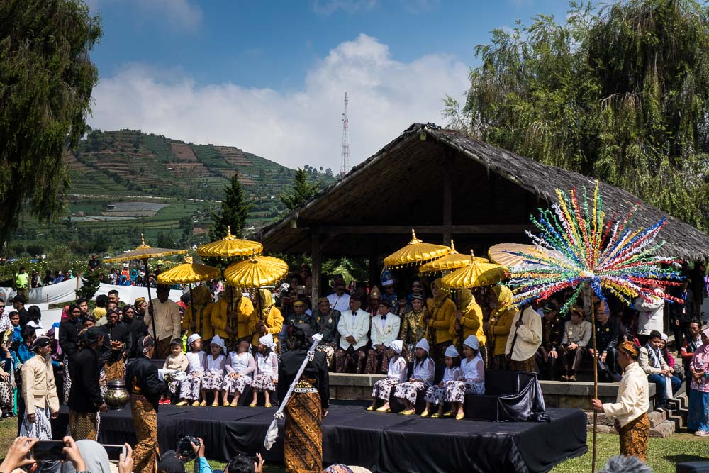 The blessing at the ancient site - Dieng Culture Festival