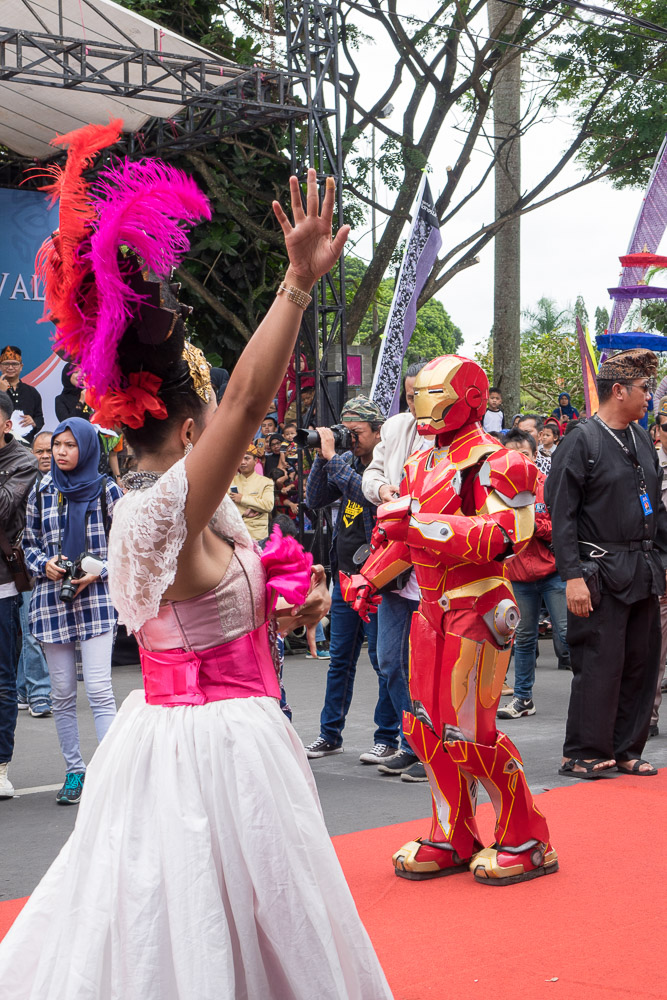 Iron man dances with locals - Tasikmalaya October Festival