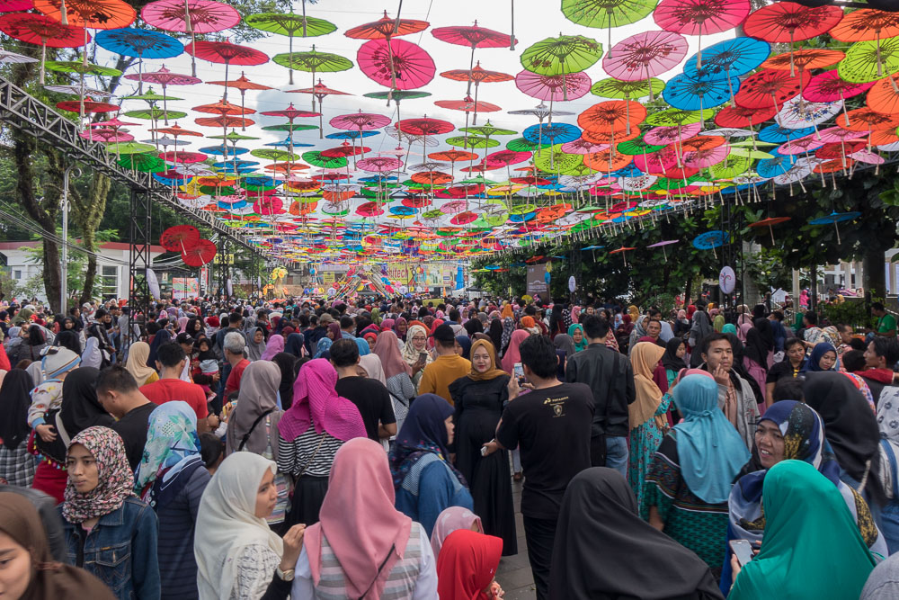 Crowds and umbrellas - Tasikmalaya October Festival