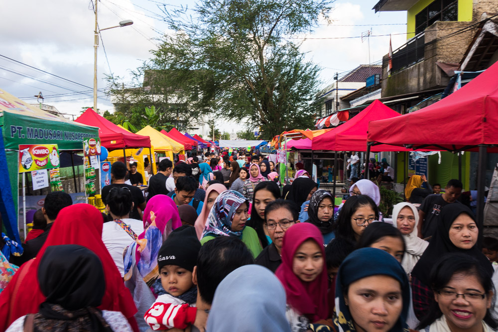 Crowds in the food stalls - Tasikmalaya October Festival