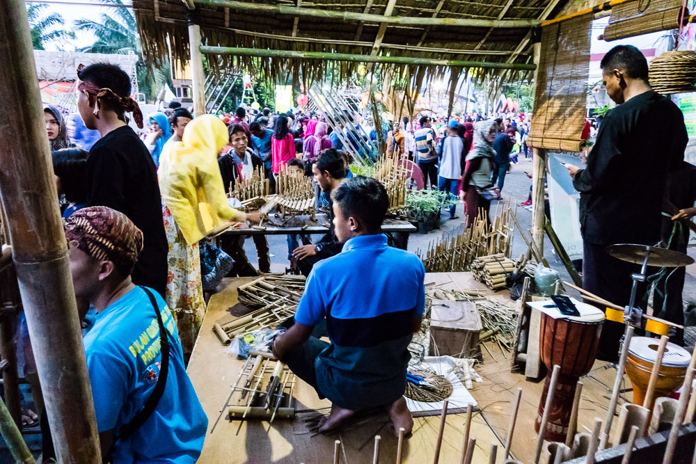 Angklung - bamboo musical instrument demo stand - Tasikmalaya October Festival