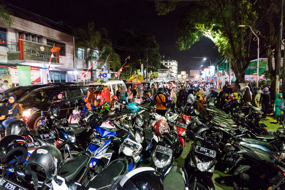 Crowds of bikes - Tasikmalaya October Festival