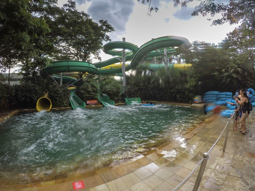 The foot of the looping slides - Waterbom Jakarta